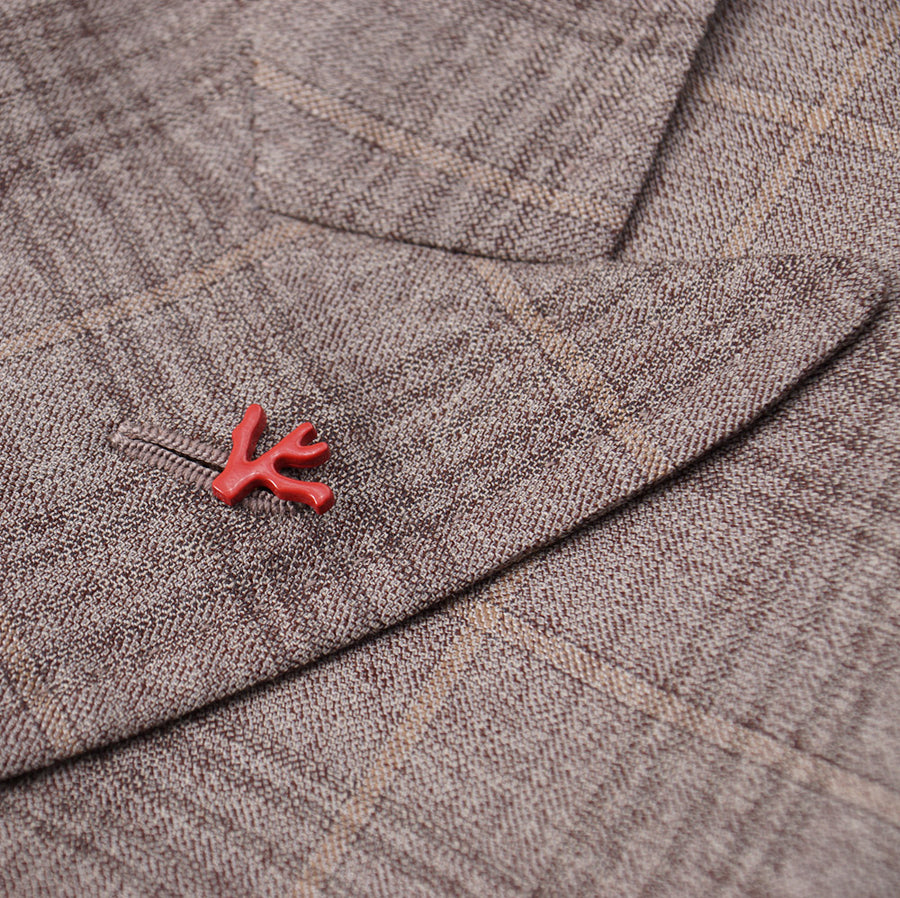 Isaia Light Brown Check Wool-Silk Sport Coat