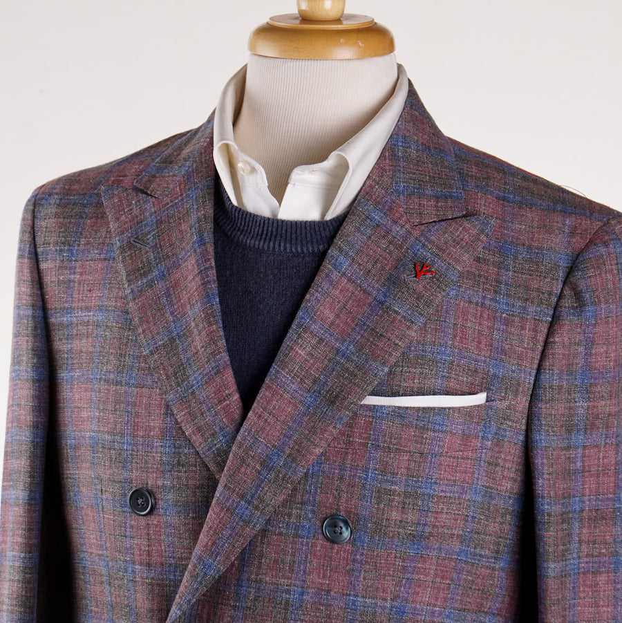 Isaia 'Soft Madras' Double Breasted Sport Coat