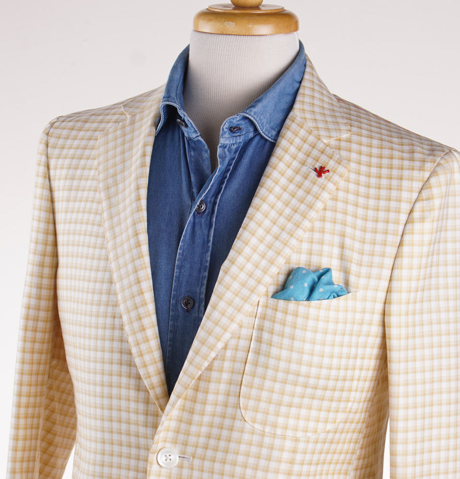 Isaia Golden Tan Check Wool-Cotton Sport Coat