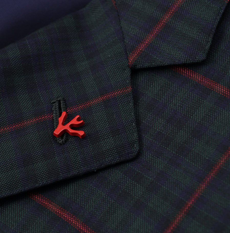 Isaia Green-Red-Navy Check 140s Wool Sport Coat
