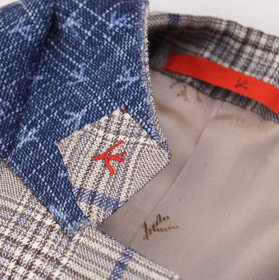 Isaia Light Brown Check Aqua Cashmere Sport Coat