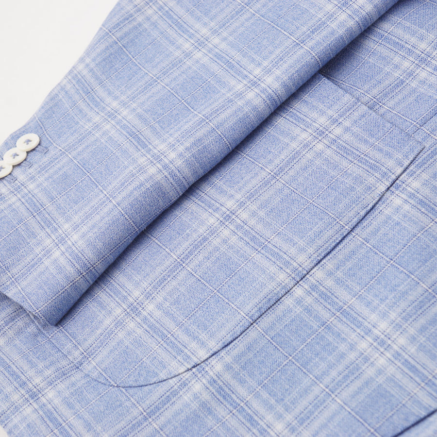 Isaia Sky Check Wool-Cashmere-Silk Sport Coat - Top Shelf Apparel