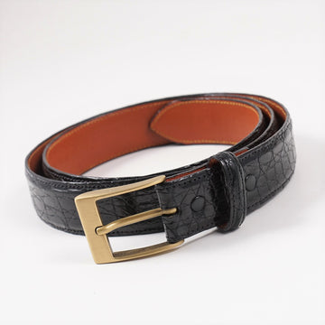 Isaia Black Crocodile Belt
