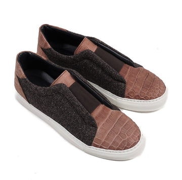 Isaia Crocodile and Wool Slip-On Sneakers - Top Shelf Apparel