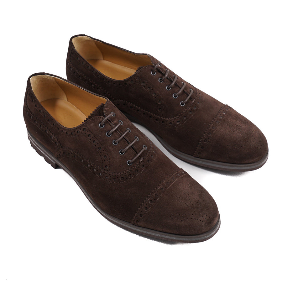 Isaia Brogued Suede Oxfords