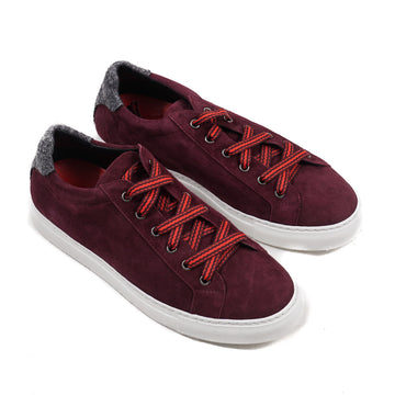 Isaia Burgundy Calf Suede Sneakers - Top Shelf Apparel