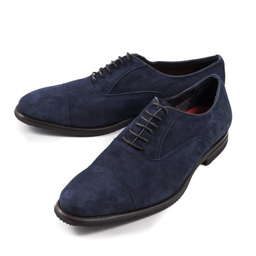 Isaia Navy Blue Suede Oxfords
