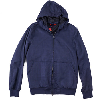 Isaia Wool-Silk-Linen Hooded Jacket