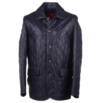 Isaia Diamond Quilted Leather Jacket in Navy