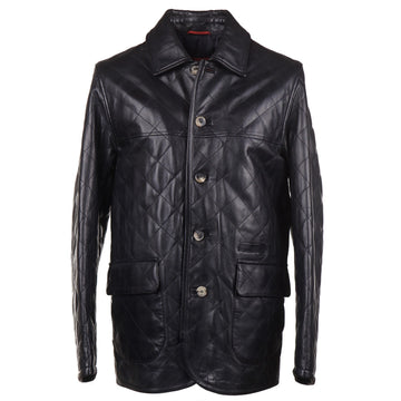 Isaia Diamond Quilted Leather Jacket in Black