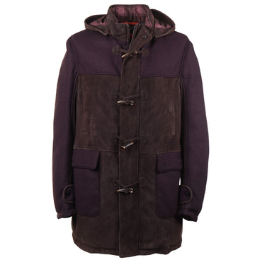 Isaia Down-Filled Suede and Wool Parka