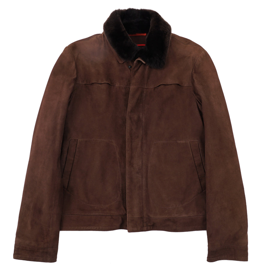 Isaia Cashmere-Lined Suede Bomber Jacket with Fur Collar - Top Shelf Apparel