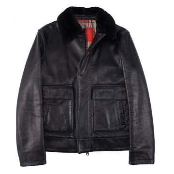 Isaia Nappa Leather Bomber Jacket with Fur Collar