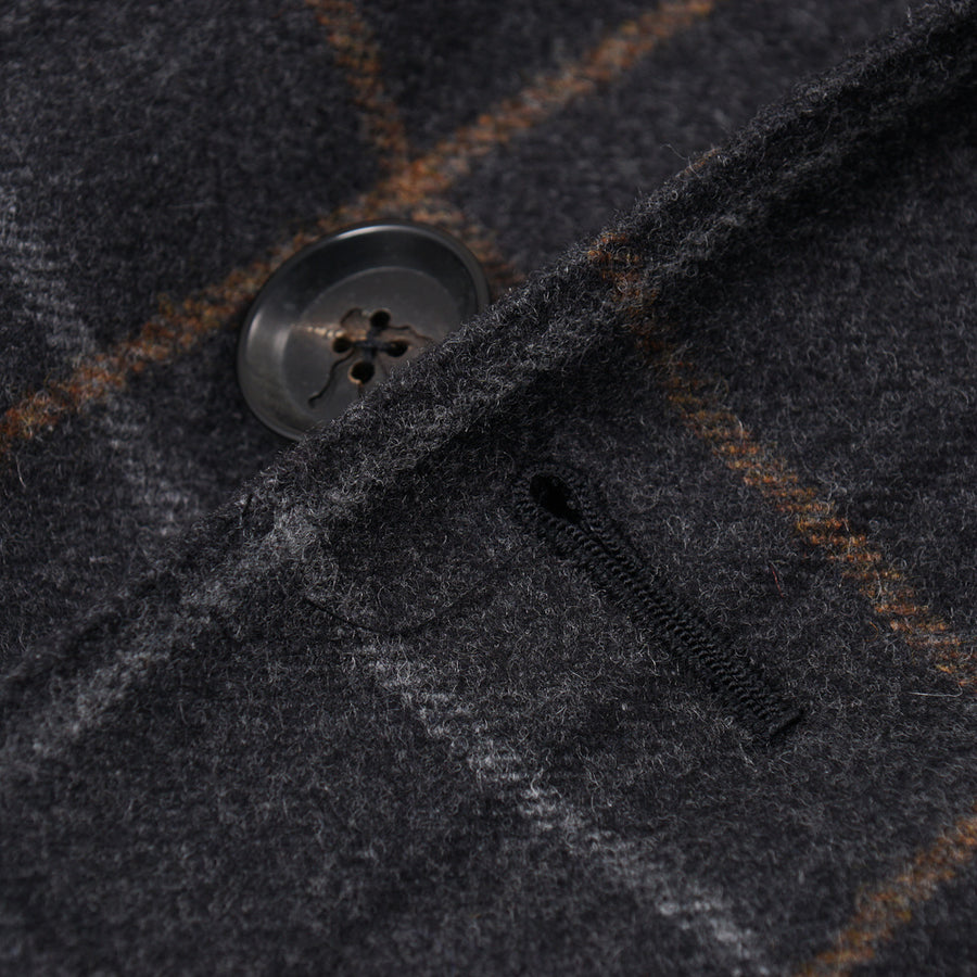 Isaia Gray Check Wool-Cashmere Overcoat