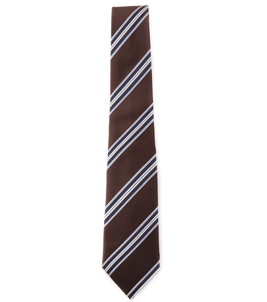 Isaia Chocolate Brown and Navy Ribbon Stripe Tie