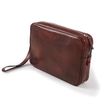 Isaia Antiqued Leather Toiletry Bag