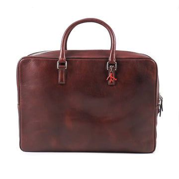 Isaia Antiqued Leather Briefcase
