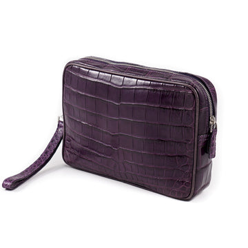 Isaia Crocodile Leather Toiletry Bag
