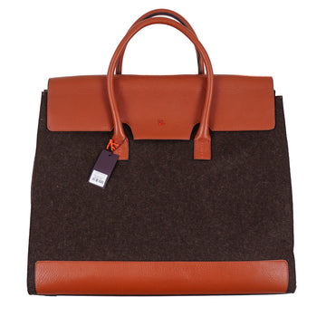 Isaia Wool and Leather Weekender Bag