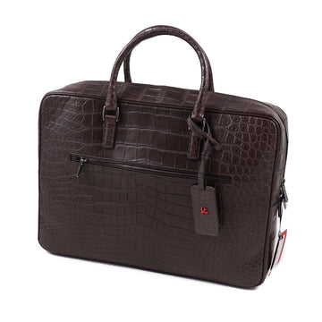 Isaia Chocolate Brown Crocodile Briefcase