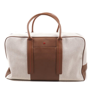 Isaia Canvas and Leather Weekender Bag