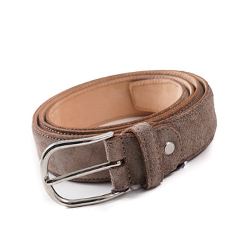 Isaia Gray Textured Suede Belt