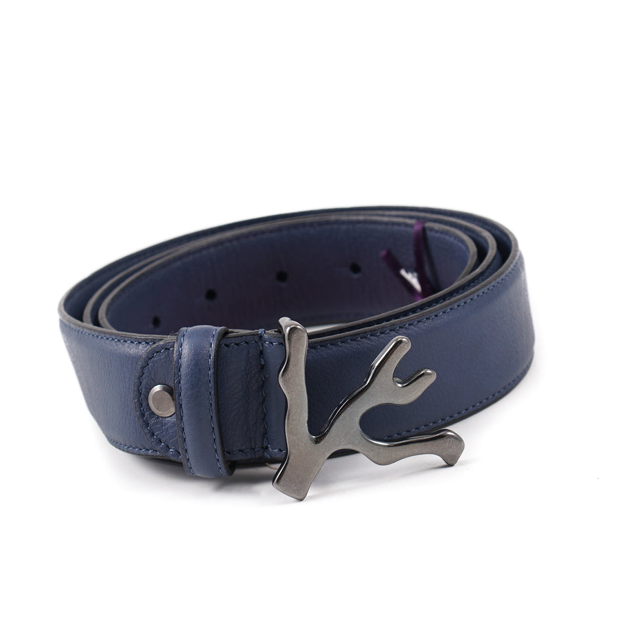Isaia Leather Belt with Coral Branch Buckle - Top Shelf Apparel