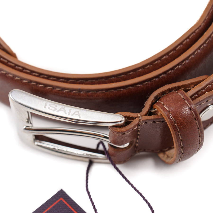 Isaia Reddish Brown Calf Leather Dress Belt - Top Shelf Apparel