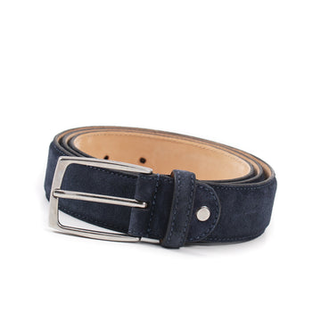 Isaia Navy Blue Calf Suede Dress Belt - Top Shelf Apparel