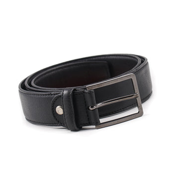 Isaia Satin Black Calf Leather Belt - Top Shelf Apparel