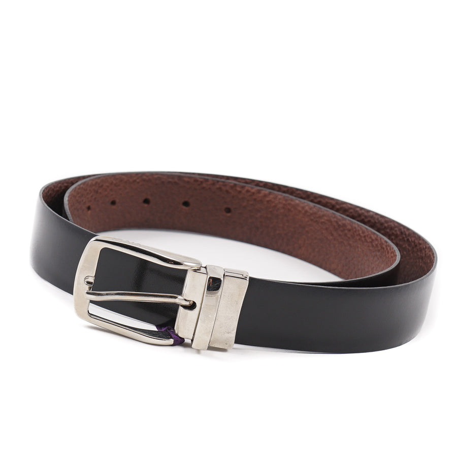 Isaia Brown-Black Reversible Leather Belt - Top Shelf Apparel