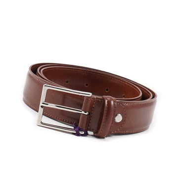 Isaia Medium Brown Calf Leather Dress Belt - Top Shelf Apparel