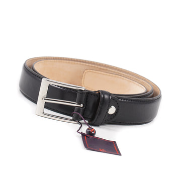 Isaia Black Calf Leather Dress Belt - Top Shelf Apparel