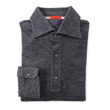 Isaia Long Sleeve Wool and Cotton Polo Shirt