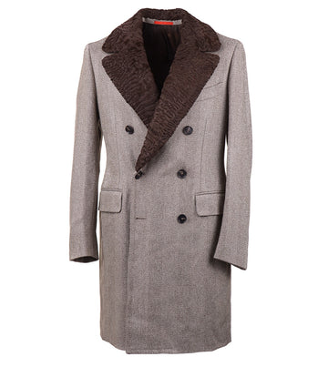Isaia Wool Overcoat with Astrakhan Collar - Top Shelf Apparel