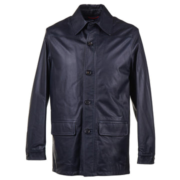Isaia Leather Utility Jacket in Navy Blue - Top Shelf Apparel