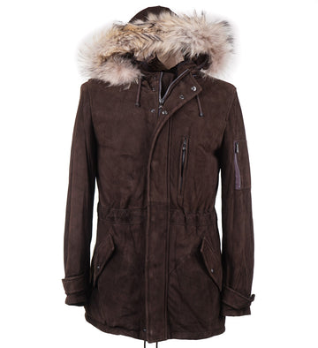 Isaia Suede Parka with Fur Collar Trim - Top Shelf Apparel