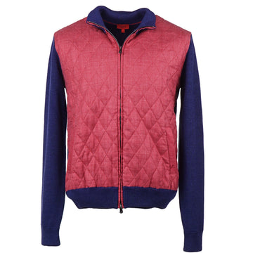 Isaia Knit Wool Bomber Jacket with Quilted Front