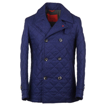 Isaia Quilted Storm System Wool Pea Coat
