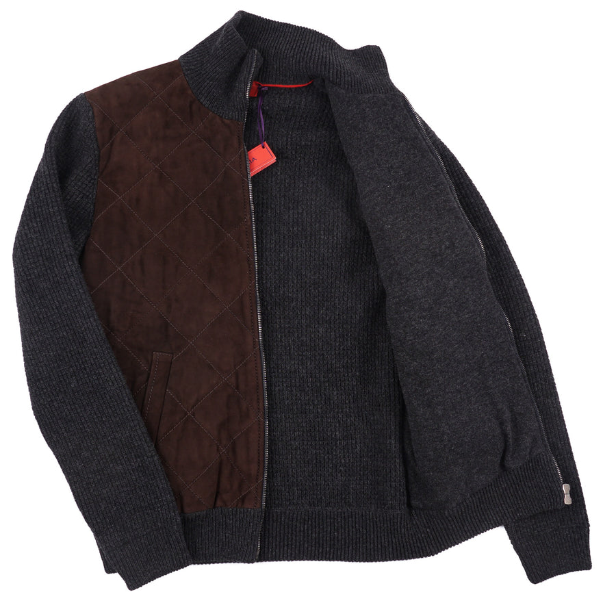 Isaia Knit Cashmere Cardigan Jacket with Suede Front - Top Shelf Apparel
