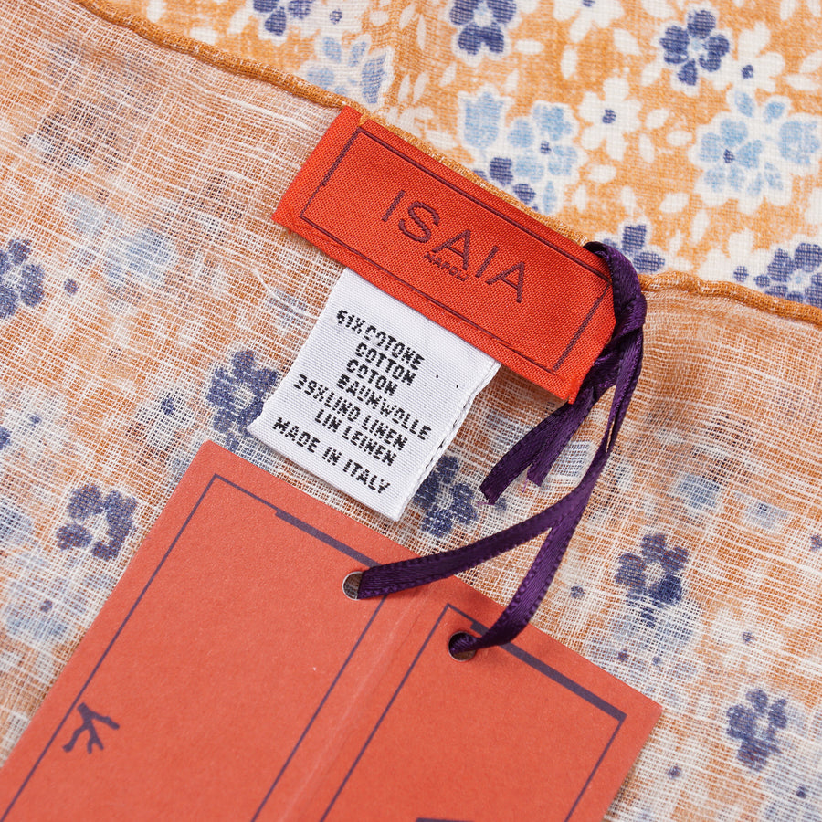 Isaia Printed Linen-Cotton Pocket Square - Top Shelf Apparel
