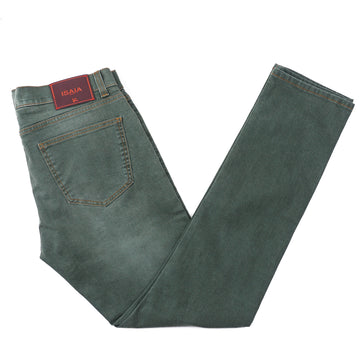 Isaia Slim-Fit Sanded Green Denim Jeans - Top Shelf Apparel