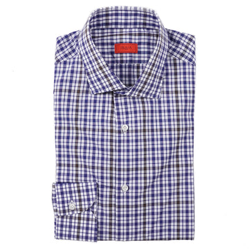 Isaia Slim-Fit Layered Check Cotton Dress Shirt - Top Shelf Apparel