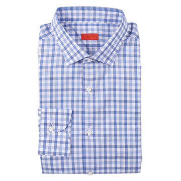 Isaia Slim-Fit Blue Check Cotton Dress Shirt - Top Shelf Apparel