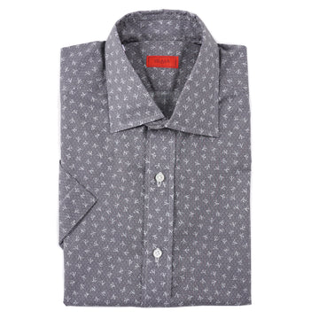 Isaia Short Sleeve Printed Cotton Shirt - Top Shelf Apparel