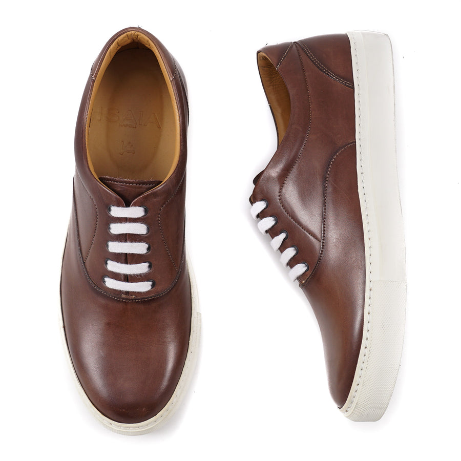 Isaia Brown Calf Leather Sneakers - Top Shelf Apparel