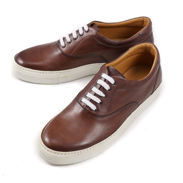 Isaia Brown Calf Leather Sneakers