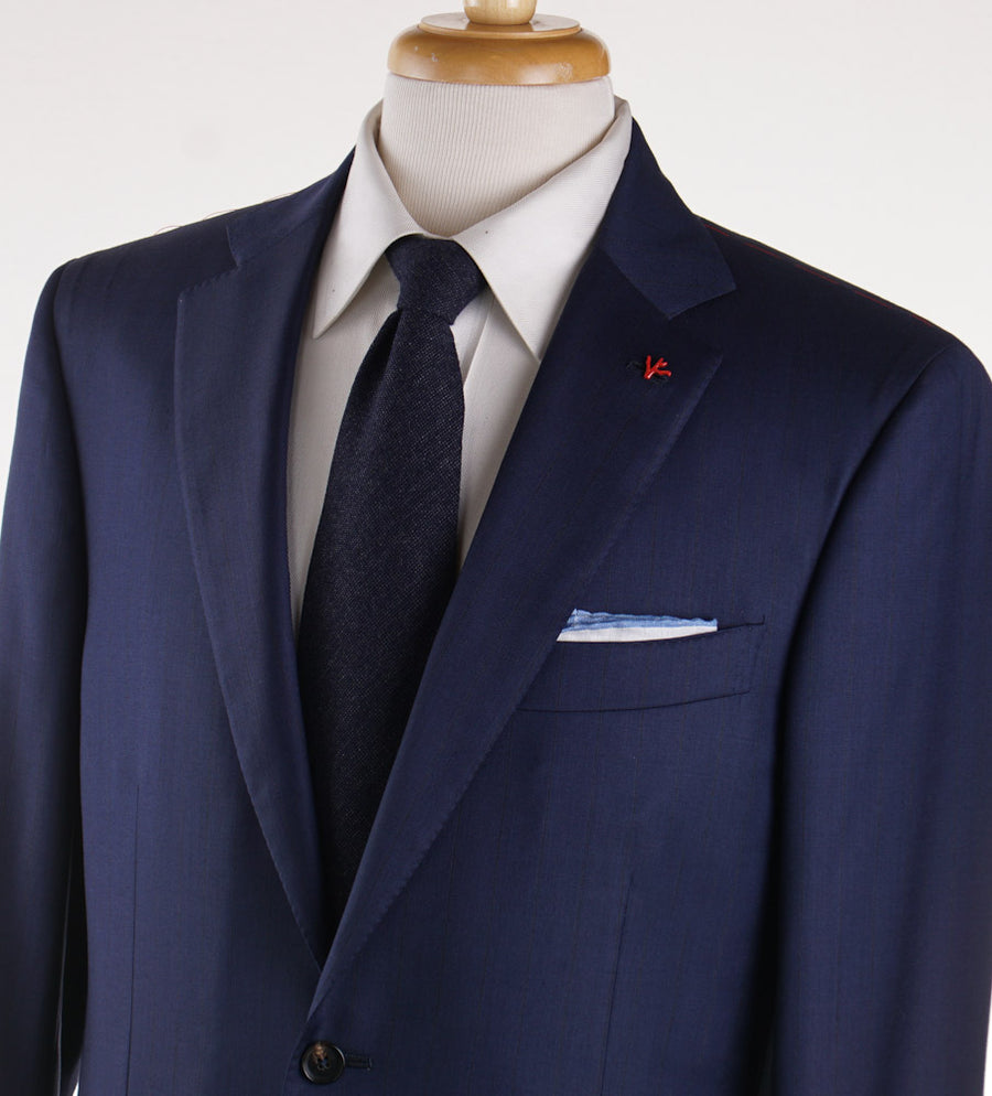 Isaia Dark Blue Stripe Super 140s Wool Suit