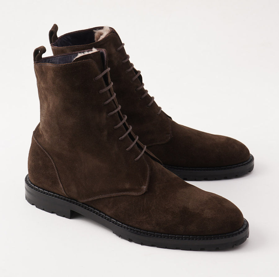 Isaia Shearling-Lined Suede Ankle Boots - Top Shelf Apparel