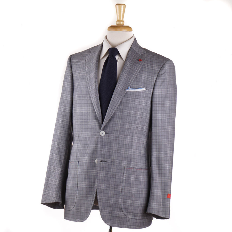 Isaia Light Gray Check Super 140s Wool Suit